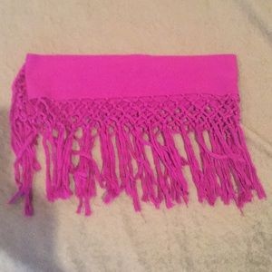 Magenta fringe long skinny scarf.